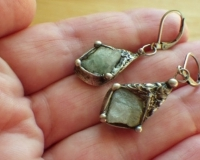 Handmade artistic Earrings with Ural Raw Rmerald a